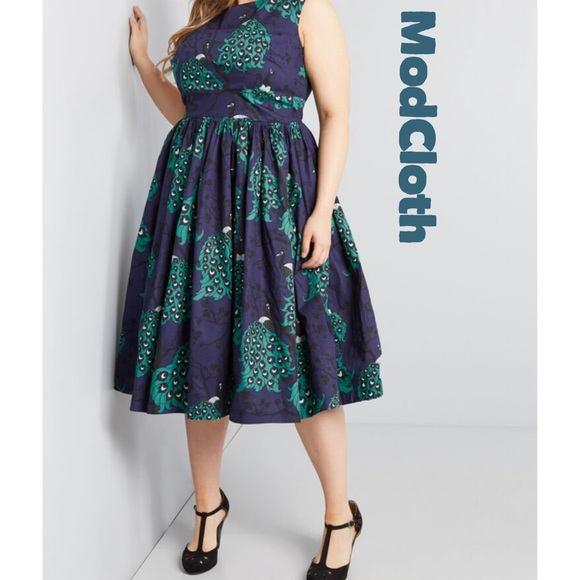 Modcloth Dresses & Skirts - ModCloth x Dupenny Fit & Flare Peacock Dress NWT